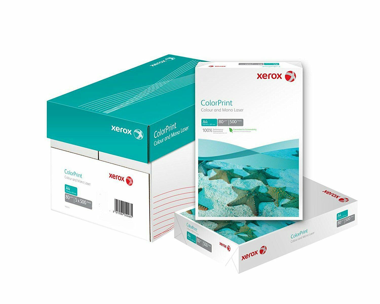 2500 Blatt Xerox Premium Farblaser-Papier Druckerpapier ColorPrint Din A4, 90 g/m², Karton mit 5 Pack a 500 Blatt, weiß