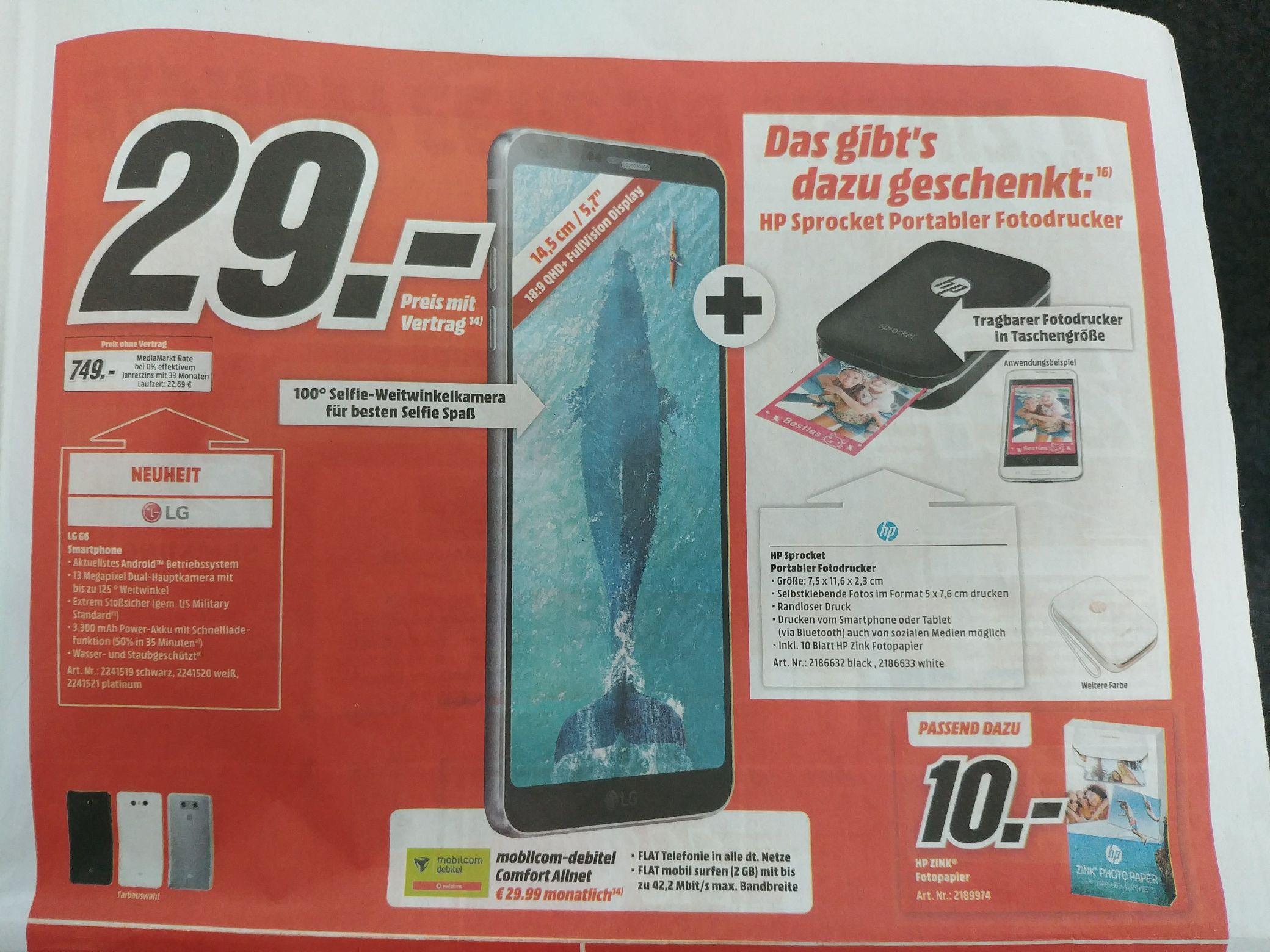 LG G6 Bundle - GRATIS HP Sprocket Drucker MediaMarkt Bundesweit