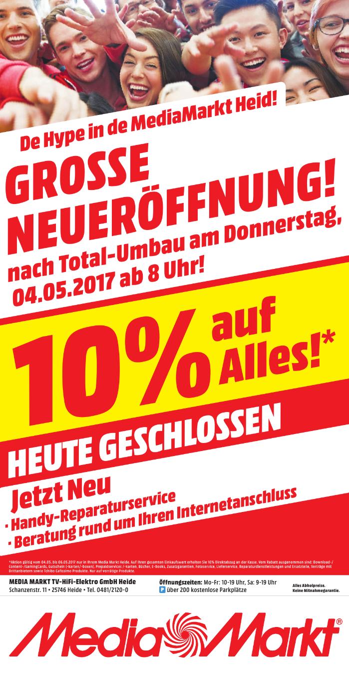 [Lokal Mediamarkt Heide] 10% Rabatt auf Alles vom 04.05 - 06.05..Zb. PS4 Pro inc. Horizon für 358,20€