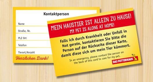 Kostenlose Notfallkarte - Damit sich im Ernstfall um die Haustiere gekümmert wird!