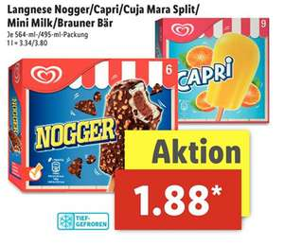 [Lidl] Langnese Nogger, Capri, Cuja Mara Split, Mini Milk & Brauner Bär je 495-564ml für 1,88€