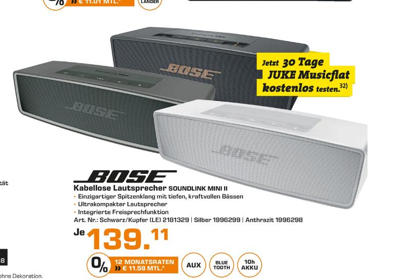 [Saturn Stuttgart/Esslingen] Bose Soundlink Mini für 139,11€