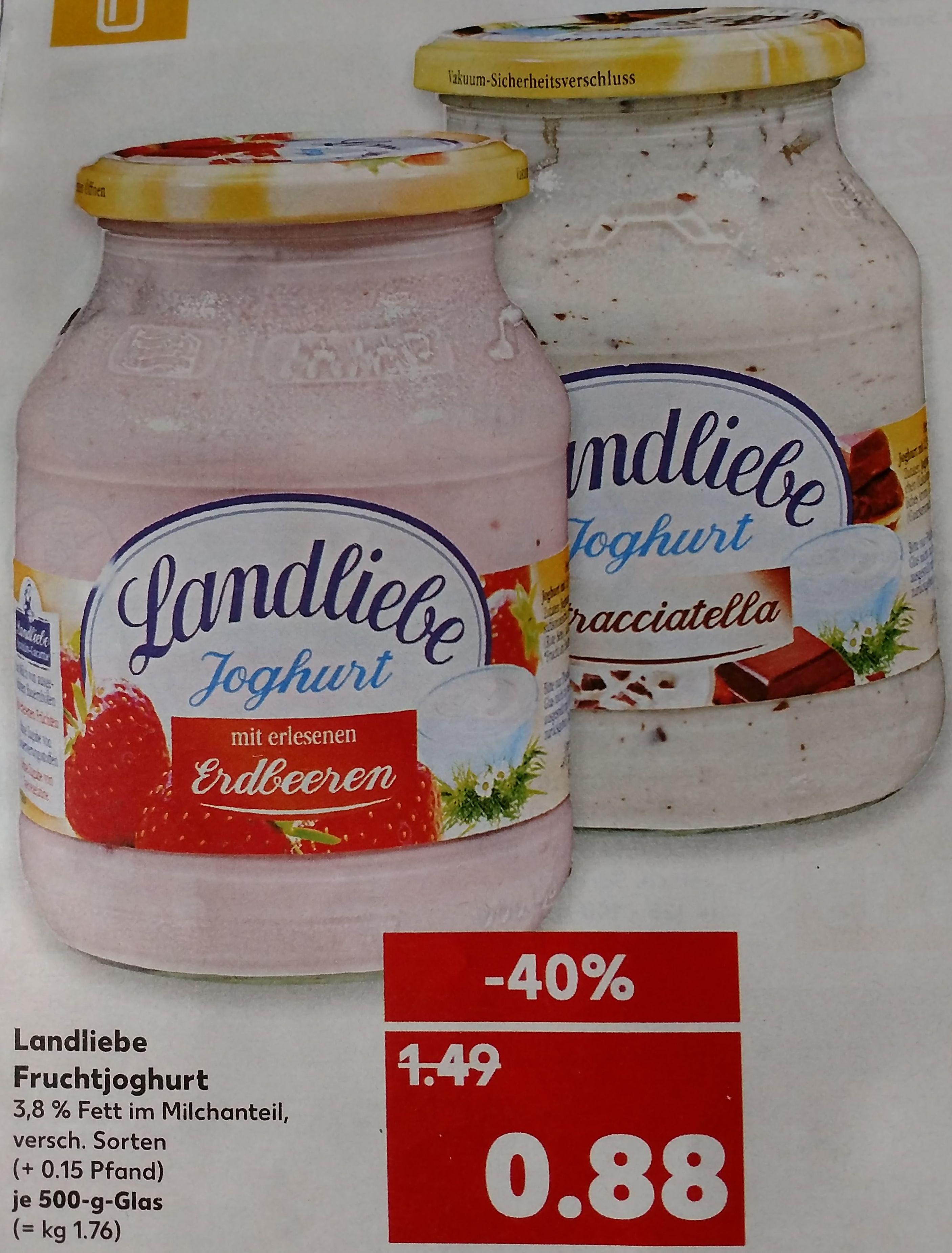 Kaufland: 6 Stück Landliebe Fruchtjoghurt 500 g (je 0,71 Euro)