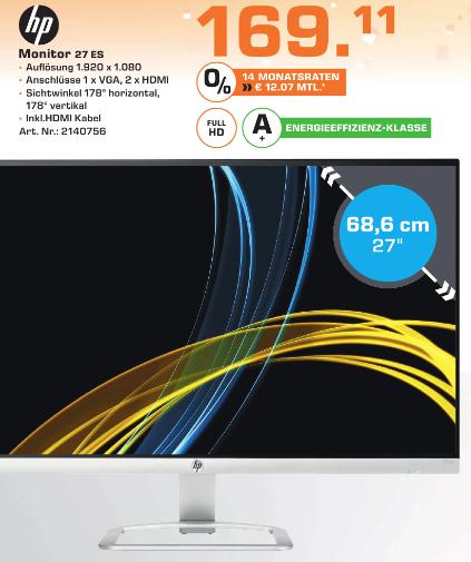"[Lokal Saturn Stuttgart] HP 27es Display (27"") 16:9 FHD VGA/HDMI 7ms LED-IPS"