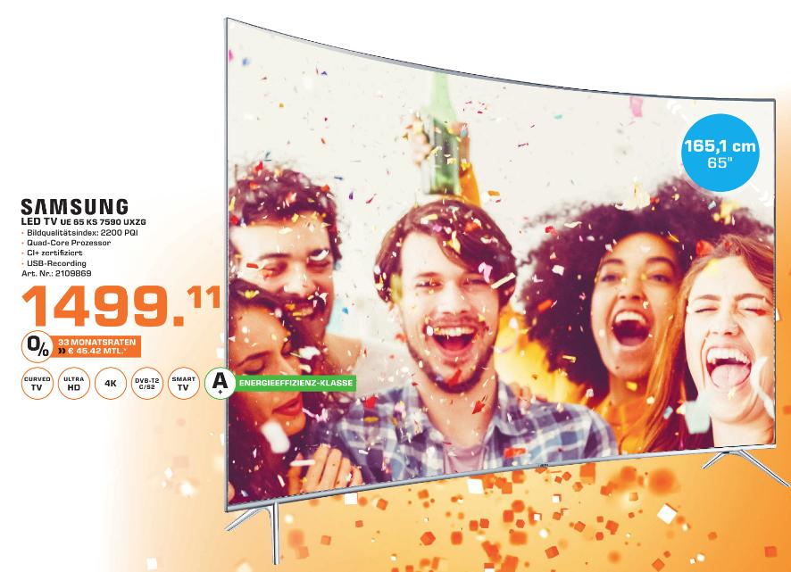[Lokal Saturn Stuttgart] Samsung UE65KS7590 Curved SUHD 4K LED Smart-TV
