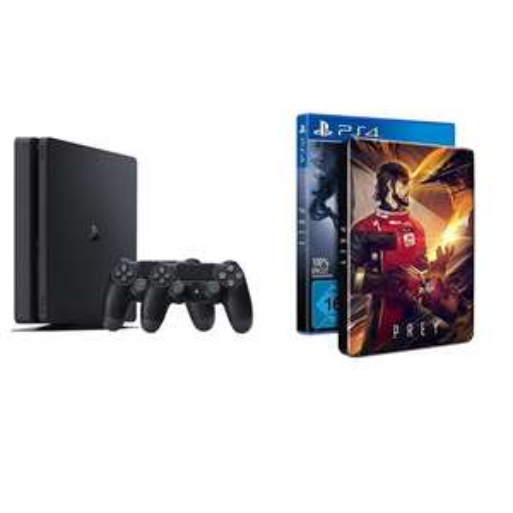PlayStation 4 - Konsole (500GB, schwarz, slim) inkl. 2. DualShock Controller + Prey - Day One Edition inkl. Steelbook