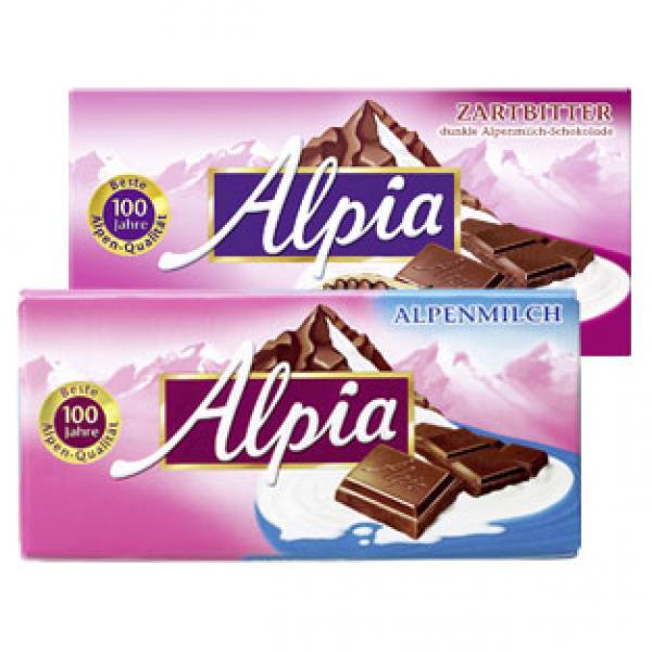 [Globus Rüsselsheim] Alpia Tafelschokolade versch. Sorten 100g für nur 0,33€