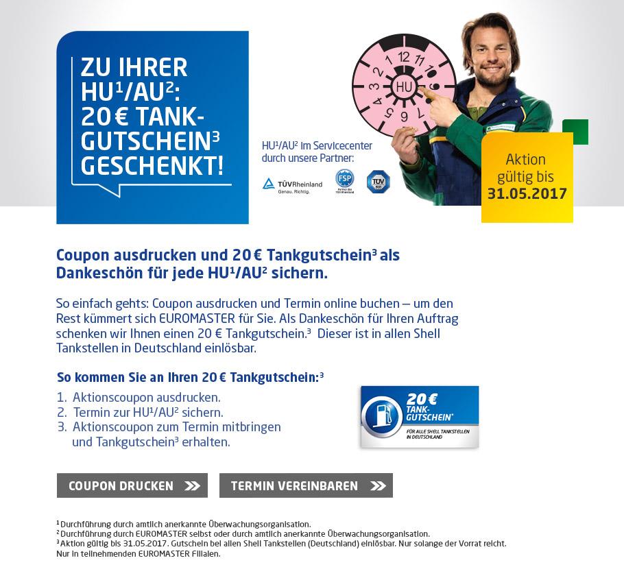 HU + AU bei Euromaster für 89€ + 20€ Shell Tankgutschein