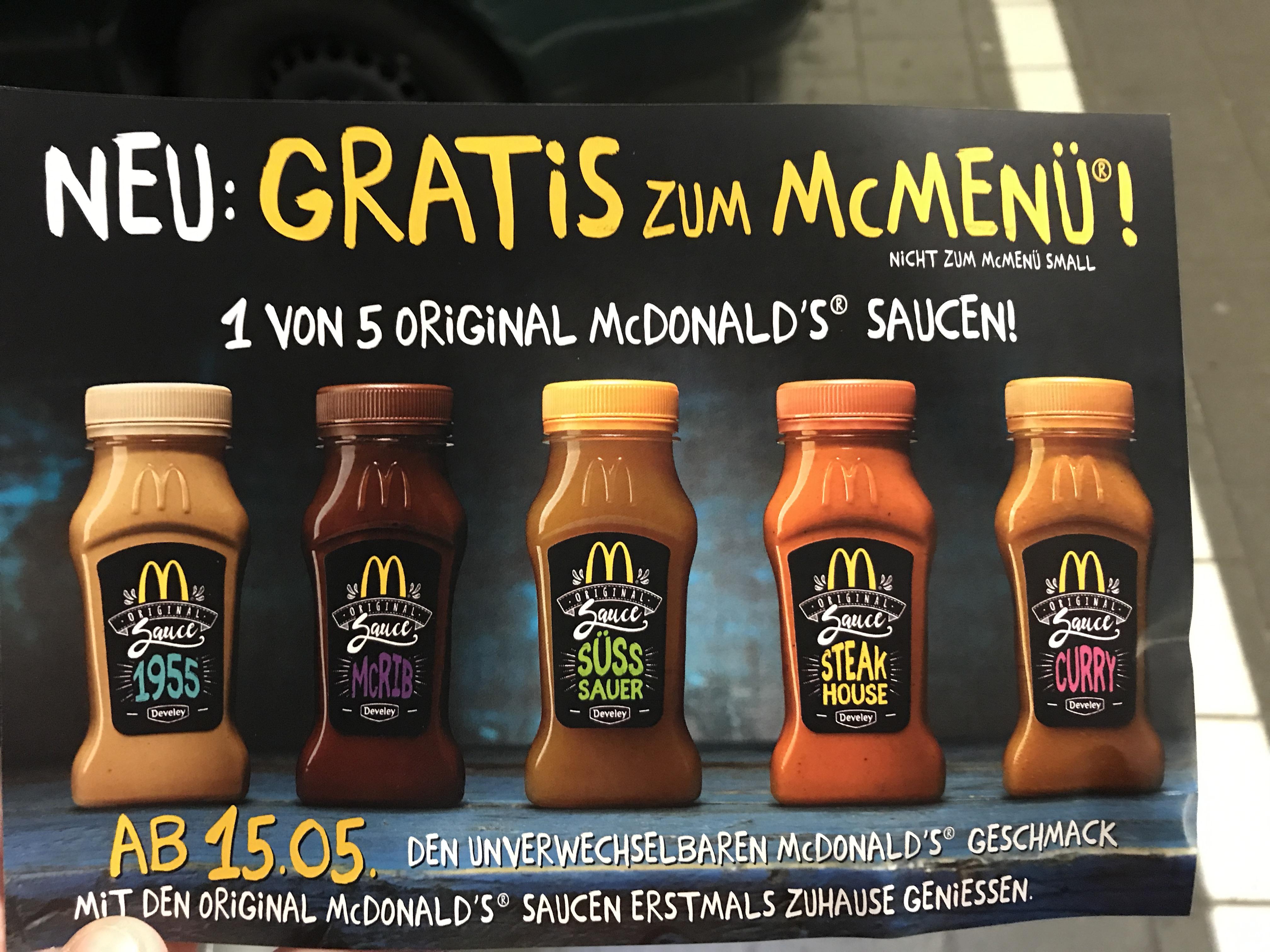 (Ab heute) gratis zum McMenü: original McDonalds Saucen!