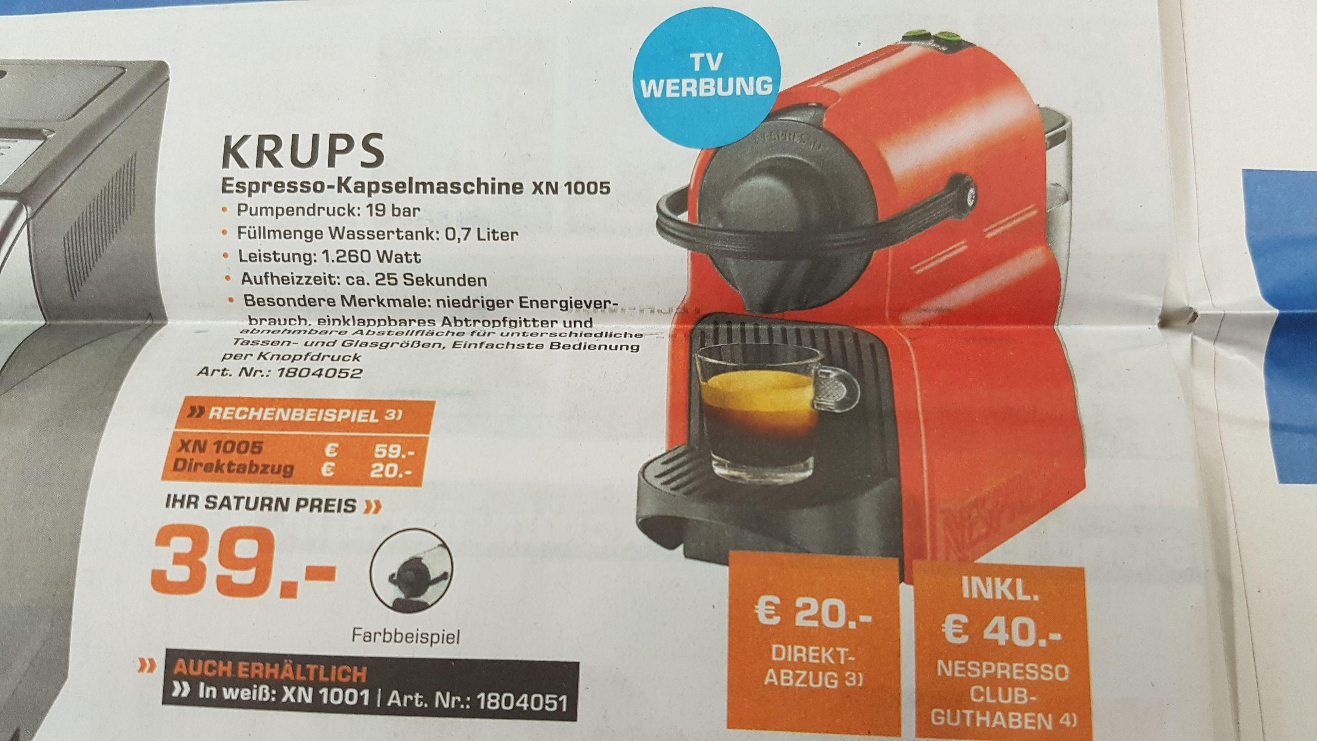 LOKAL: Oberhausen - Krups Nespresso - INISSIA 39,00€ dazu gibt es einen 40€ Nespresso Gutschein