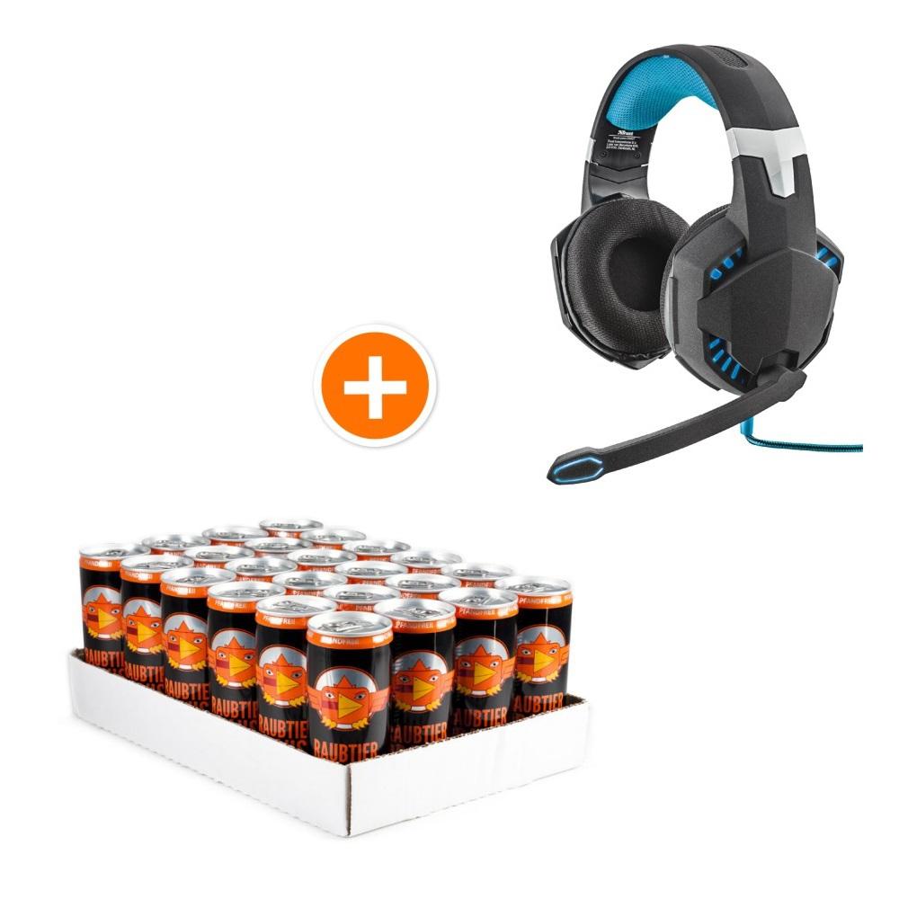 [NBB] Gaming Headset Trust GXT 363 Bass Vibration 7.1 & 24er Raubtierbrause Energydrink für effektiv 3,40€ dazu