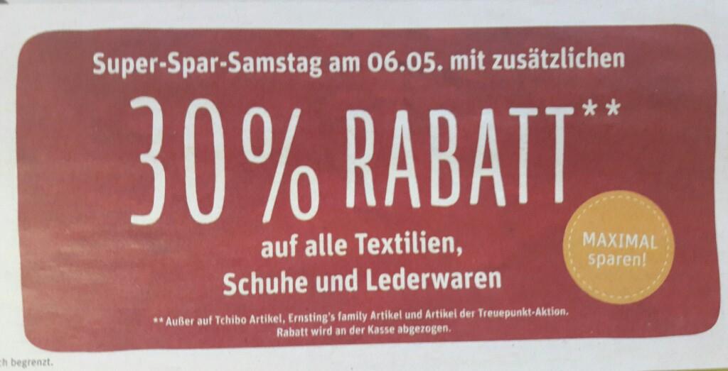 [REWE CENTER] 30% Rabatt auf alle Textilien / Schuhe / Lederwaren am 06.05.2017