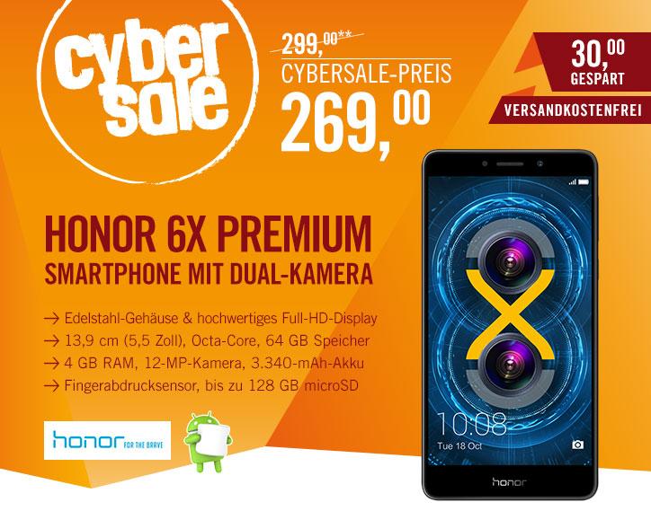 """[Cyberport] Honor 6X Premium 64GB 4GB RAM grau [13,97cm (5.5"""") FullHD-Display, OctaCore-CPU, 12MP Dual-Kamera] für 269€"""