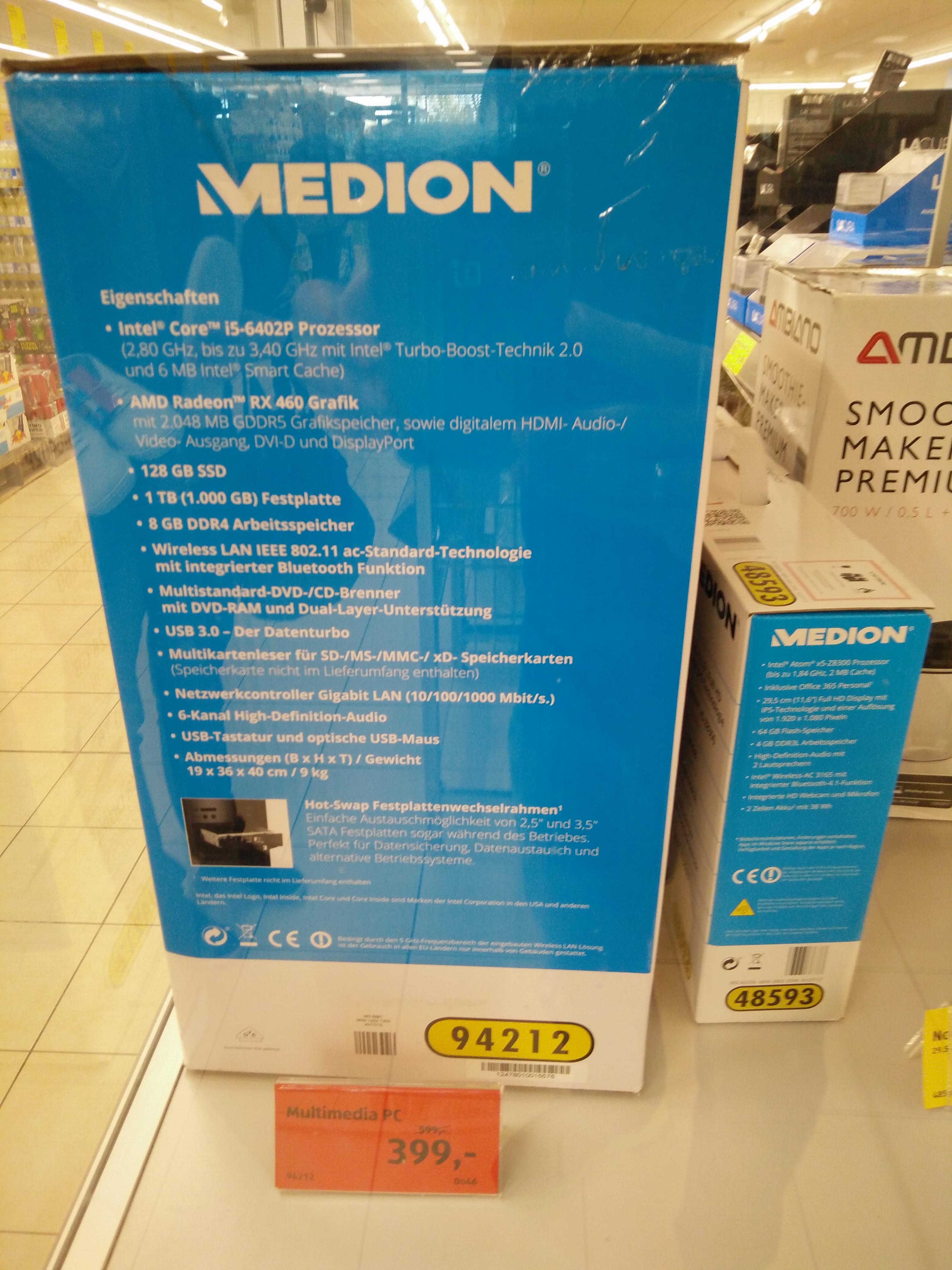 [lokal: Bad Camberg] MEDION AKOYA P5360 E bei Aldi für 399 € (i5-6402P, 8GB RAM, 128GB SSD + 1TB HDD, AMD RX 460, 350W, Win 10 Home)