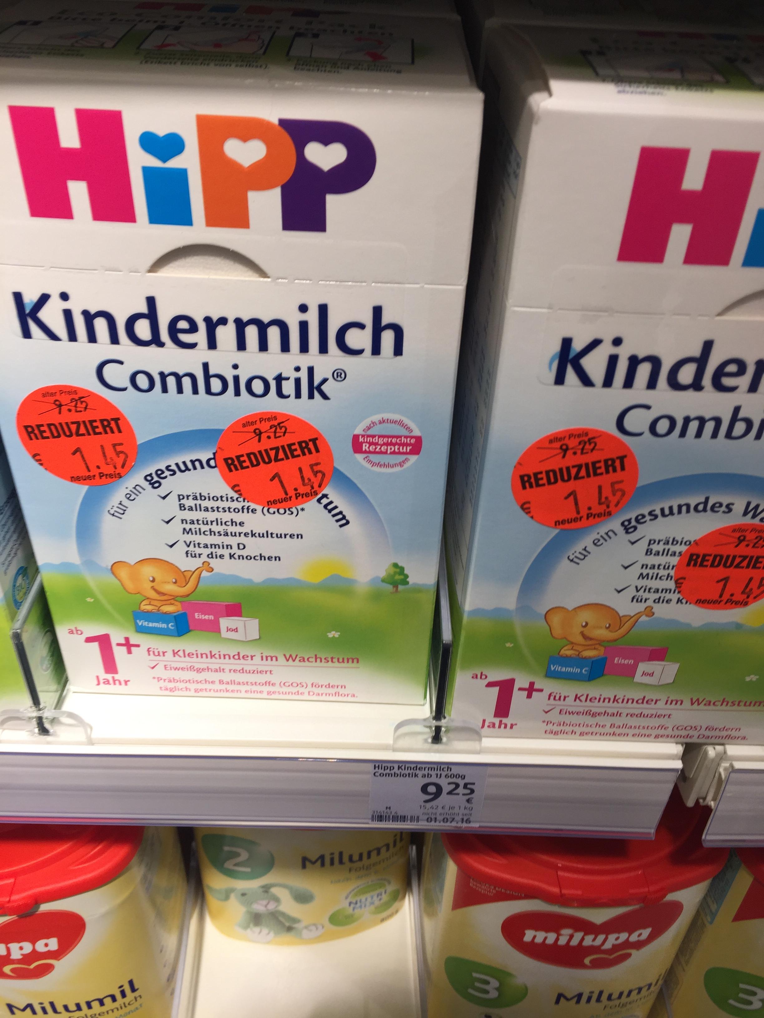 Hipp Kindermilch Combiotik für 1,45 statt 9,25 und Hipp Bio Kindermilch für 2,45 statt 9,25 (lokal DM Ahlen)