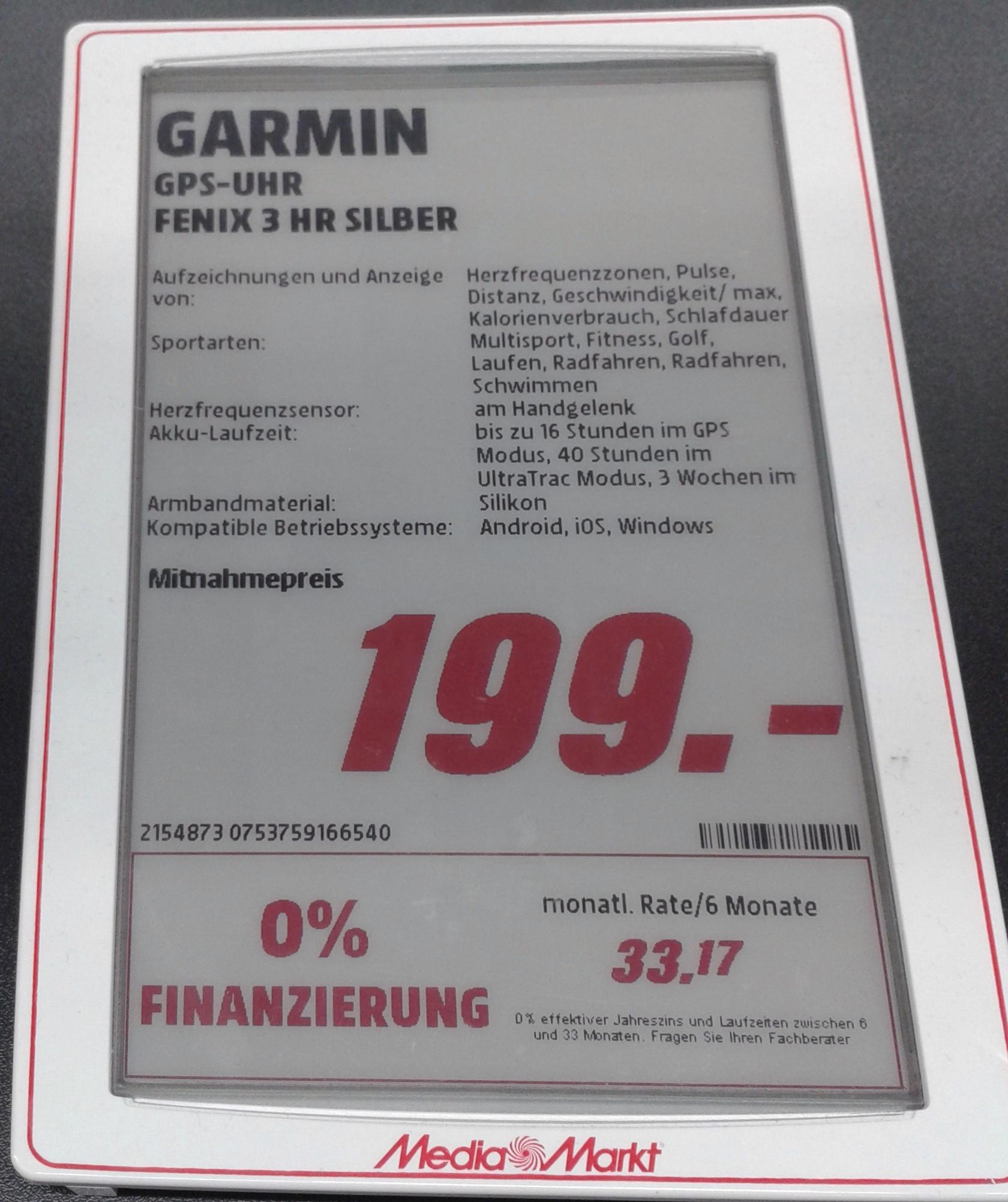 [MM KA-Bulach]   GARMIN Fenix 3 HR SILBER  für 199€  (VGP: 385€)