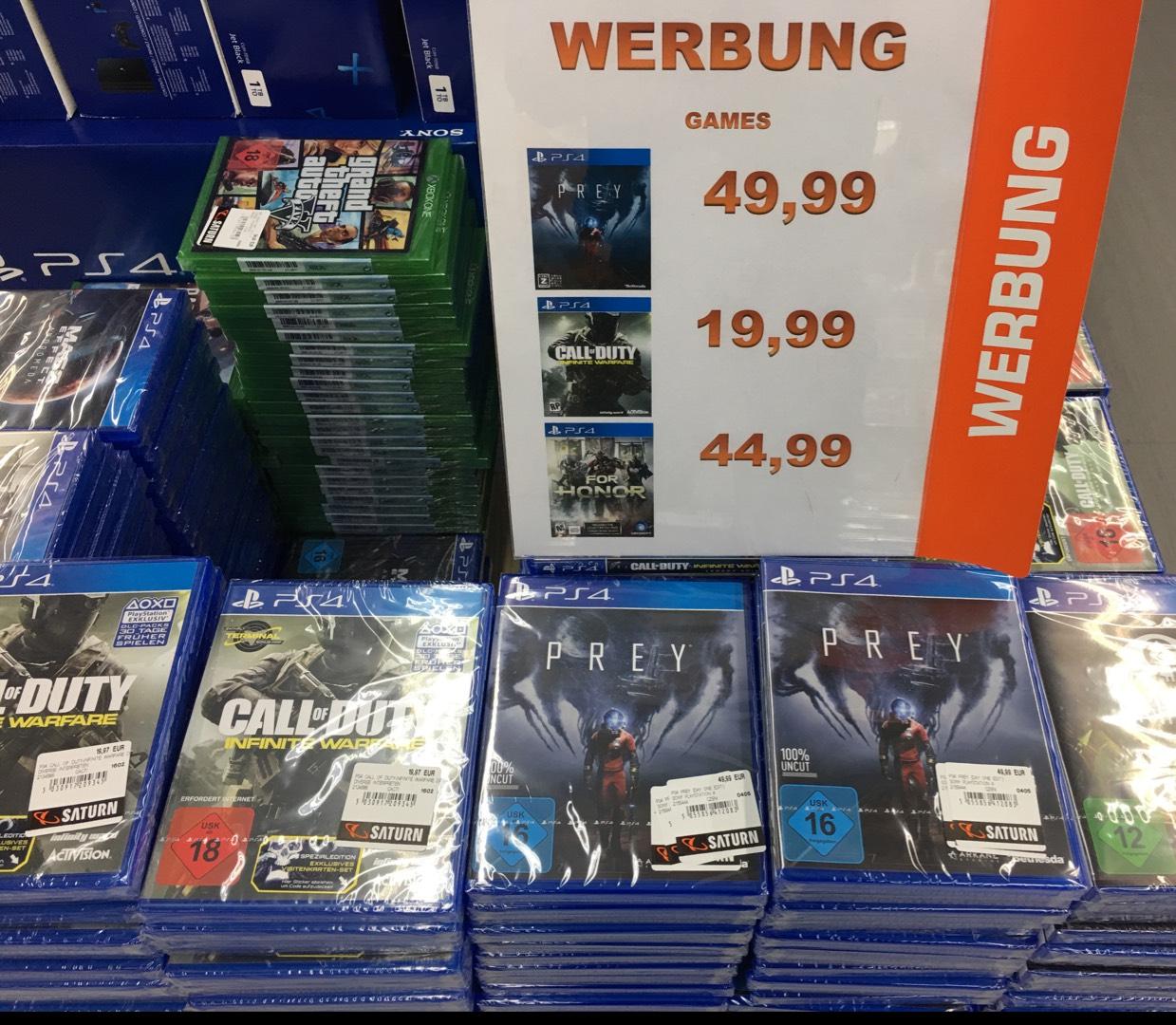 Saturn Leverkusen PS4 Spiel call of Duty Infinite Warfare für 19,99, Prey für 49,99