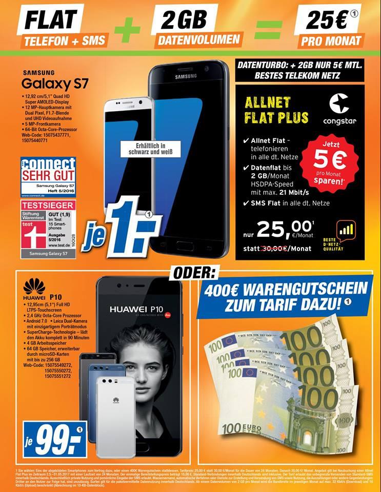 s7 mit Congstar (D1) Allnet & SMS flat/ 2GB (max 21Mbit/s)