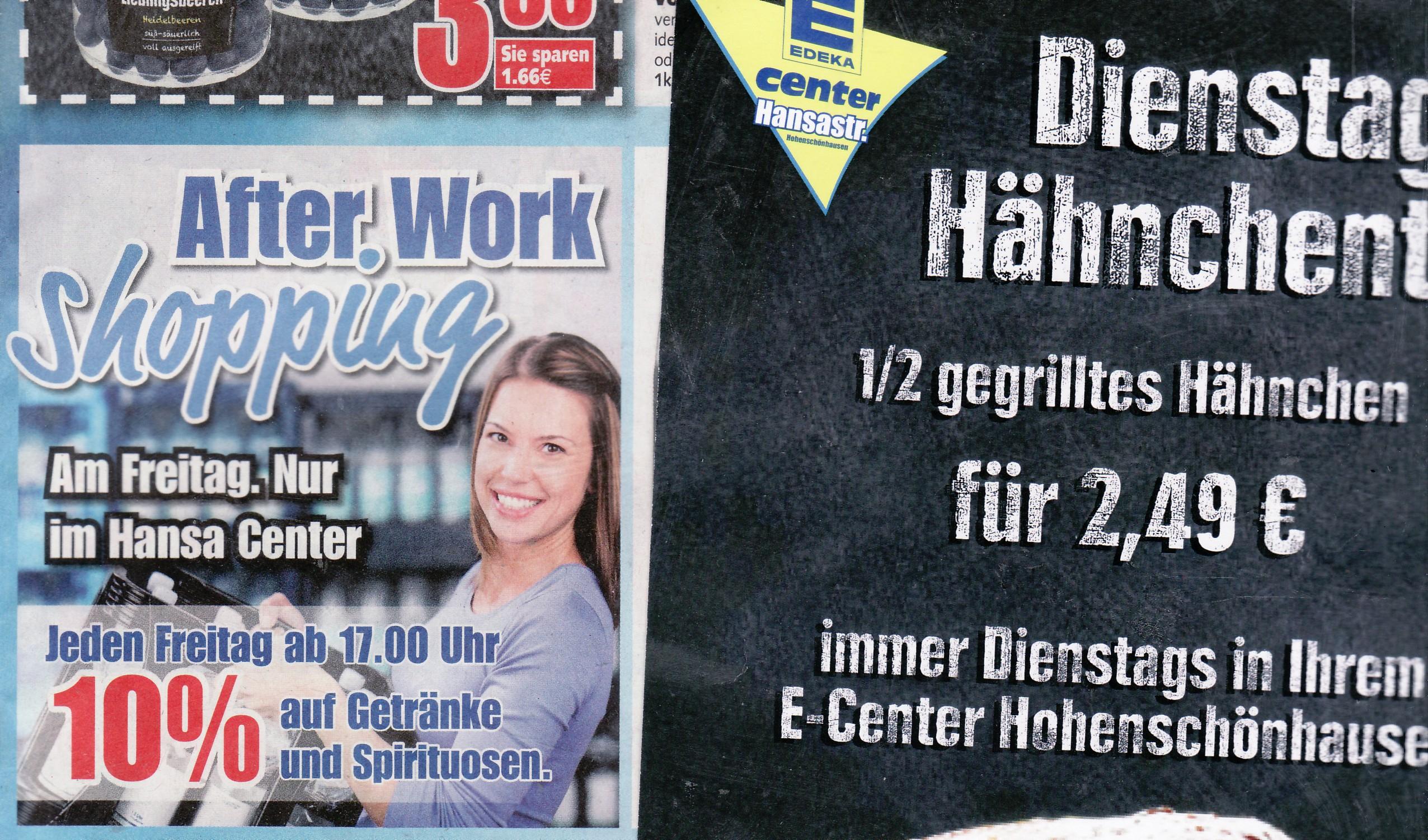 Lokal Berlin: Jeden Freitag von 17 - 21 Uhr 10 % Rabatt auf Getränke und Spirituosen im Edeka Hansacenter Hohenschönhausen