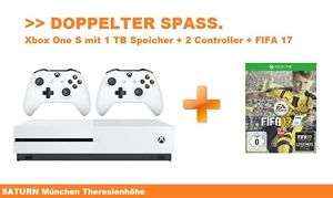 Microsoft XBOX One S 1 TB Konsole + Fifa 17 Spiel + 2 Controller