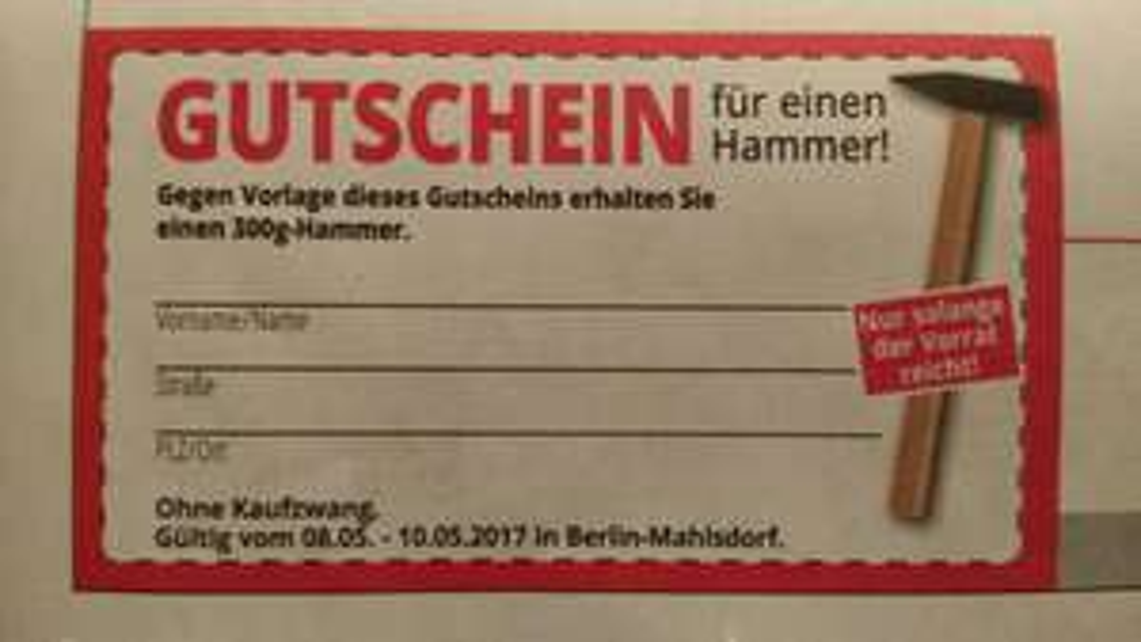 Gratis Hammer Deal :-) lokal Berlin Mahlsdorf