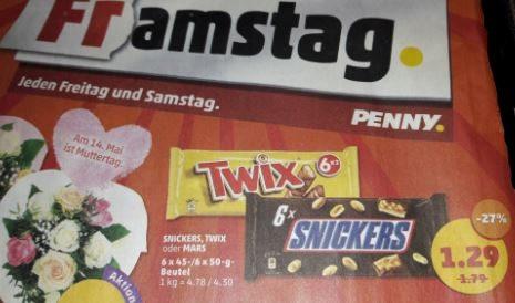 [Penny] Snickers, Mars oder Twix für nur 1,29 € statt 1,79 € = -27%  am 12.5 - 13.5.17