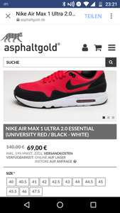 NIKE AIR MAX 1 ULTRA 2.0 ESSENTIAL (UNIVERSITY RED / BLACK - WHITE) // 40 - 47.5 (69€ + Füllartikel // Porto) (asphaltgold.de)