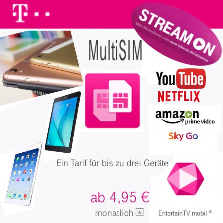 """Nur für Telekom Mobilfunkkunden (Neu & Bestandskunden): Unbegrenzt Streamen auf iPad und Tablets: Telekom """"Datenkarte"""" - Multi SIM - mit StreamOn Max"""