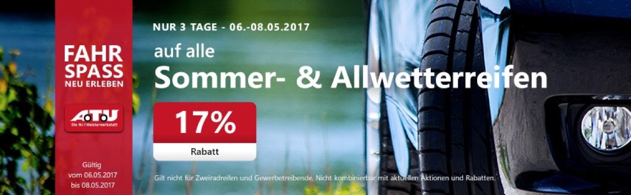 A.T.U 17% auf Sommer-, Allwetterreifen und Alu-Kompletträder