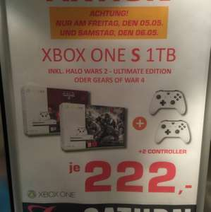 XBOX One S 1TB + 2ten Controller + Gears of War 4 oder Halo Wars 2 Ultimate Edition Lokal München Saturn