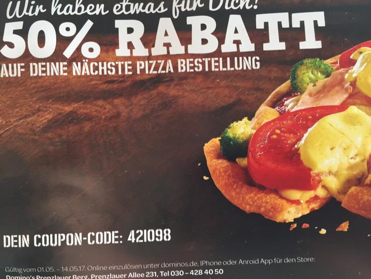 [lokal Berlin-Prenzlauer Berg] 50% Rabatt auf Pizza bei Domino's Prenzlauer Allee