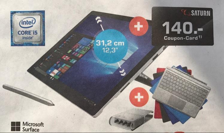 "[Saturn Lübeck] Microsoft Surface Pro 4 Tablet (12,3"" / Intel Core i5-6300U / 8GB RAM / 256GB SSD / Windows 10 Pro) + Tastatur + Pen Tip Kit + 140,00€ Coupon-Card für nur 1.199€"