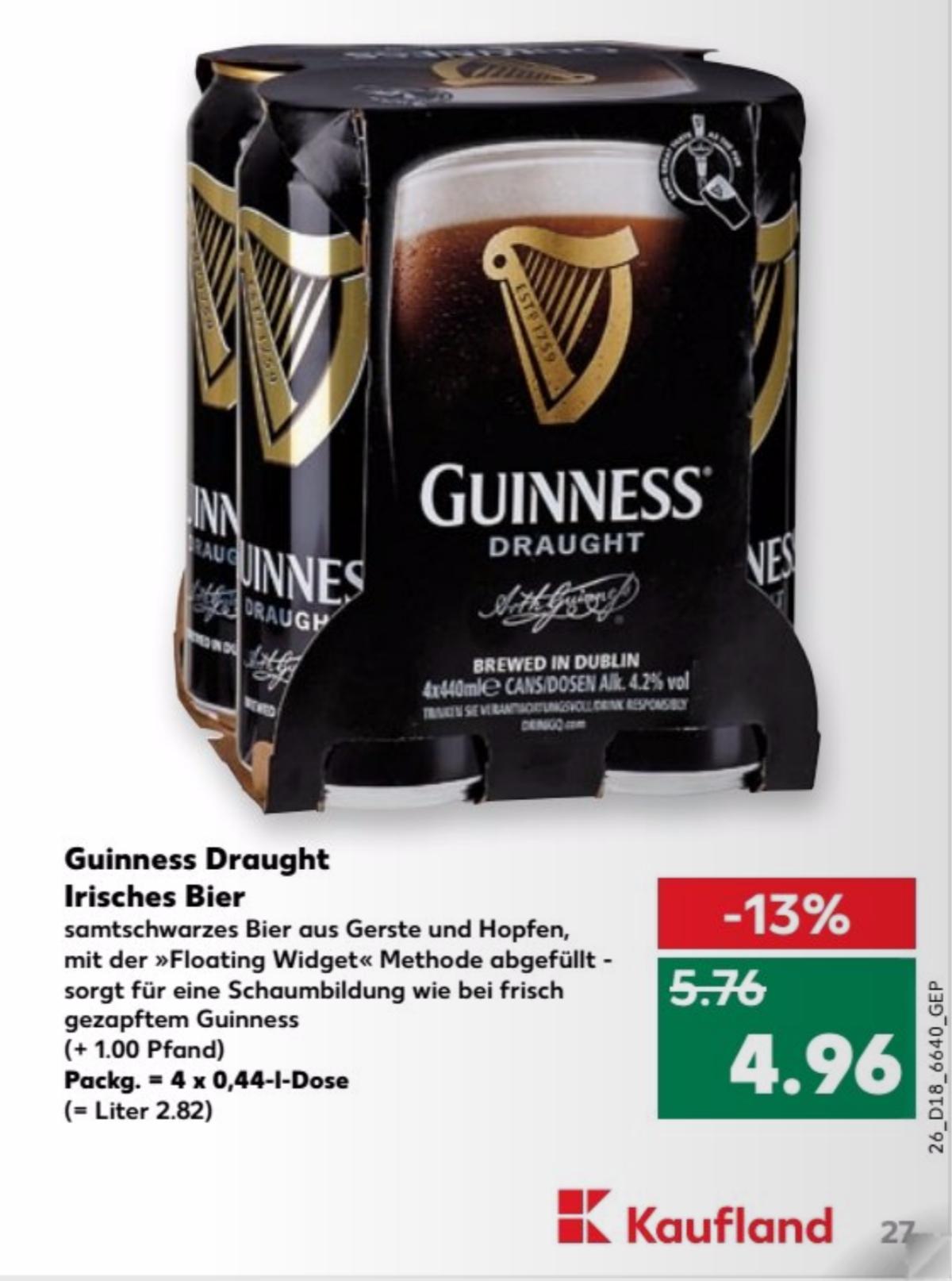 [Kaufland Süddeutschland + einige weitere Regionen] Guinness Draught irisches Bier 4x 0.44l 4.96€