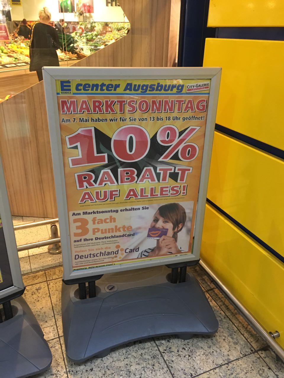 [Lokal Augsburg + Berlin] Edeka Center 10% auf alles + 3 Fach DeutschlandCard Punkte am 7.5.2017