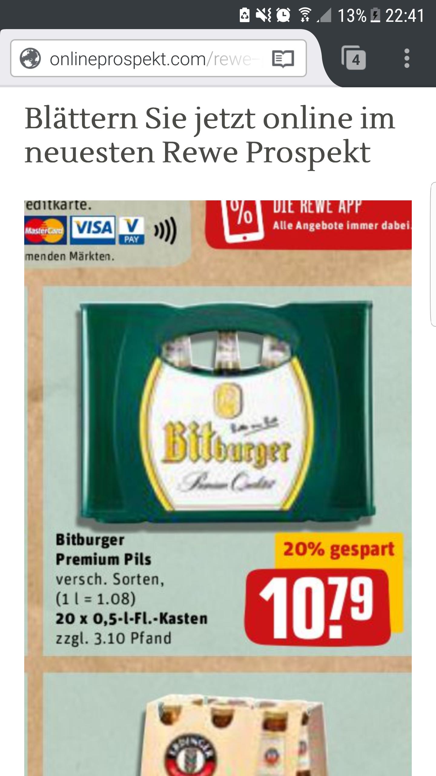 Bitburger 0.5 l Premium Pils für 8.79 pro Kasten