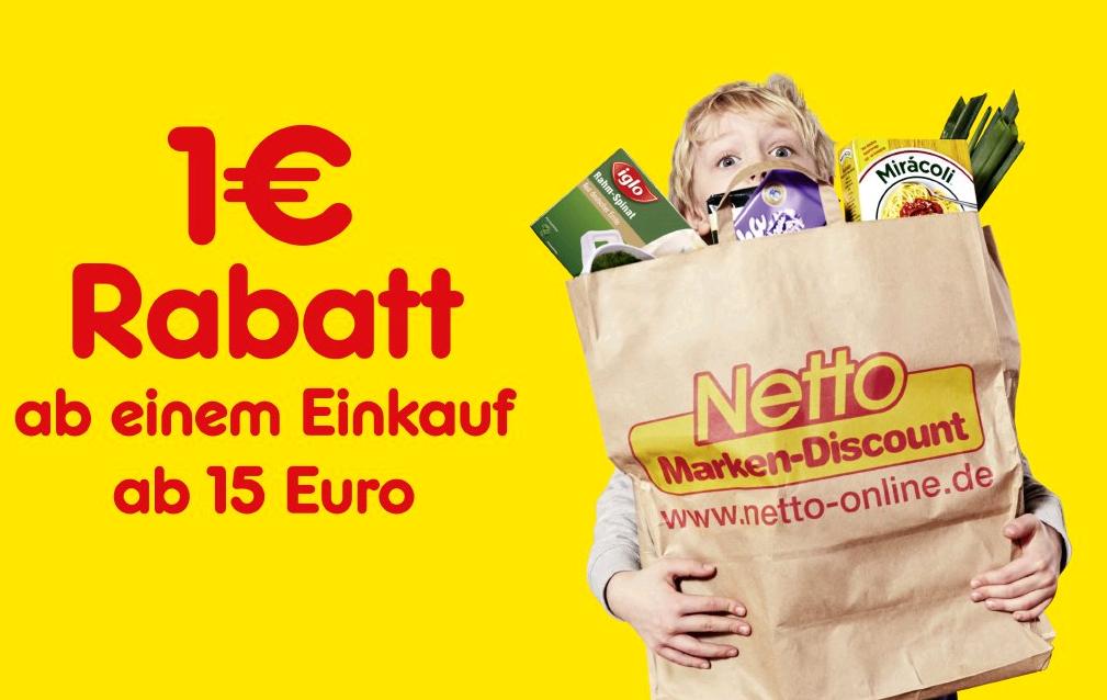 1,00 Euro Gutschein ab 15 Euro Einkaufswert (Netto MD) App