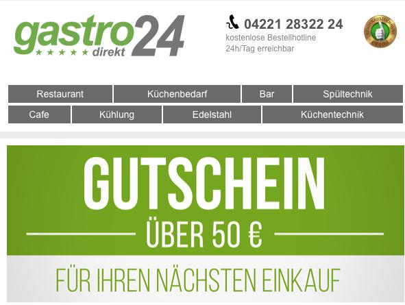 Gastro24 alles für den Gastronomiebereich auch für Privatpersonen
