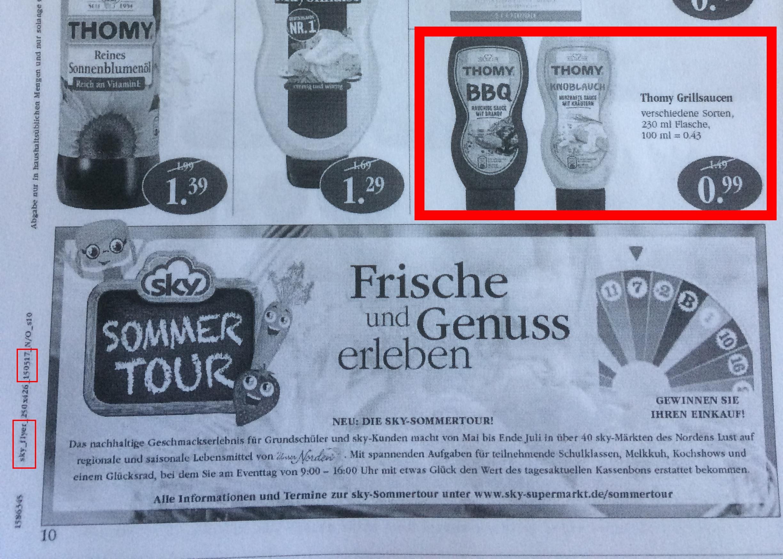 [Sky Supermärkte - Schleswig Holstein] KW 20 | 15 - 20.05 - Thomy Grillsaucen 230ml Flasche 0,99€ - 0,50€ Coupon = 0,49€ pro Flasche