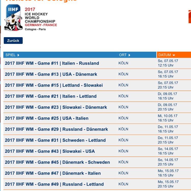 IIHF Eishockey WM in Köln - Tickets für 10€ (+ 1x 2,5€ Gebühr für bis zu 10 Karten) Nicht DEU Spiele