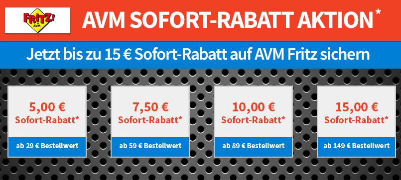 5 bis 15 Euro Rabatt auf AVM Produkte
