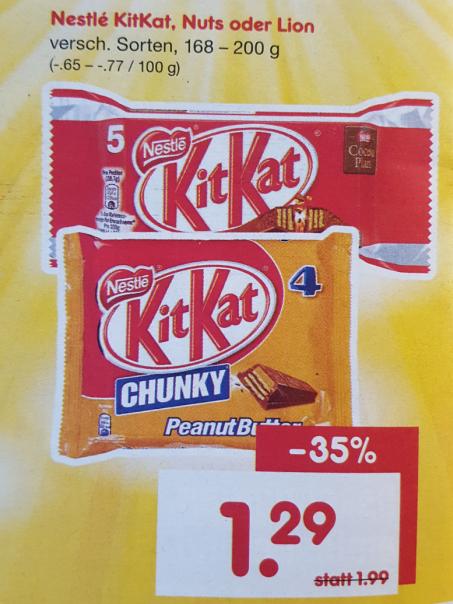 Netto Markendiscount am Samstag / 13.05.2017: 4er Pack KitKat Chunky PeanutButter für 1,29 Euro; gilt auch für KitKat, Nuts oder Lion.