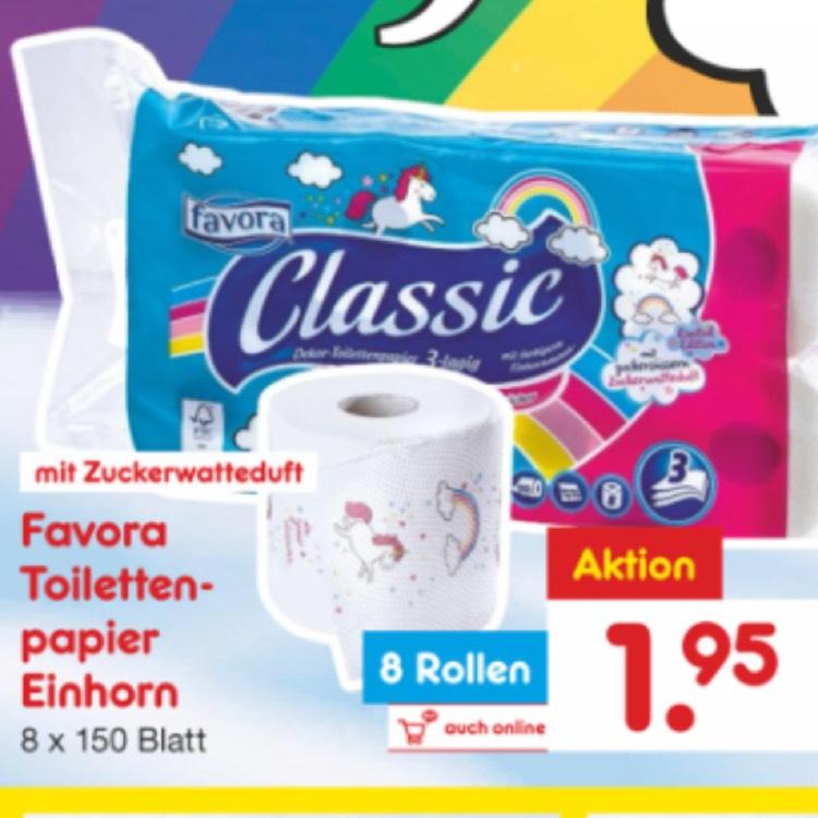 Einhorn Toilettenpapier mit Zuckerwatteduft bei Netto offline