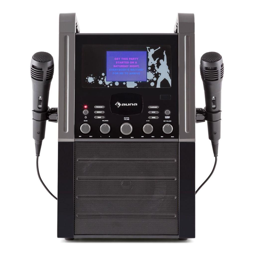 Amazon Warehouse - auna KA8B-V2 BK Karaoke Anlage für Kinder (CD-Player, 3 x Karaoke-CD, 9 cm TFT-Farbdisplay, TV-Out, 2 x Mikrofon) schwarz [Zustand: Gebraucht - Gut]
