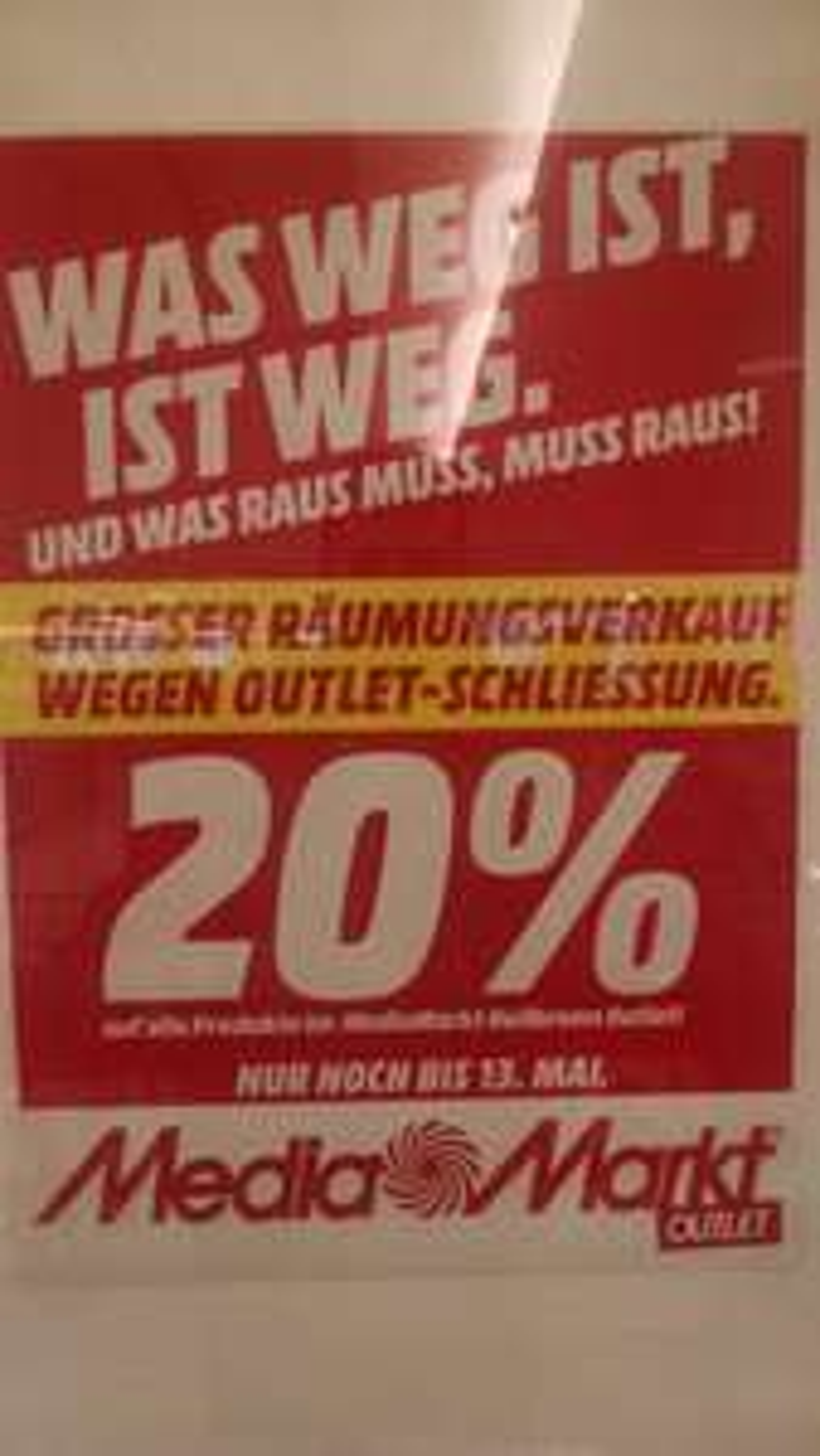 Lokal Media Markt Heilbronn Outlet 20% auf alles