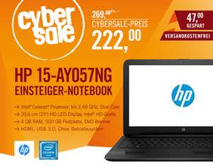 HP 15-ay057ng Notebook schwarz N3060 HD ohne Windows - 4 GB RAM, 500 GB Festplatte, DVD Brenner Intel HD 400 Grafik, HDMI, USB 3.0, WLAN-n