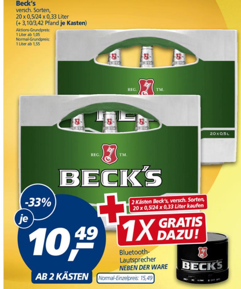 [Real] Kostenlose Becks-Bluetooth-Box beim Kauf von 2 Aktionskästen Becks