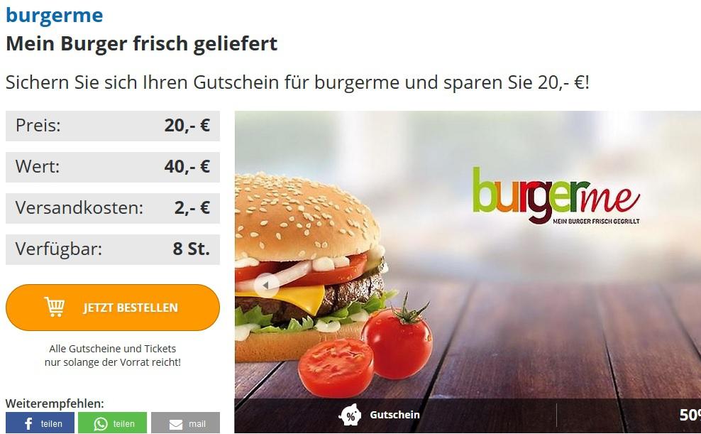 [lokal Bayreuth?!] 40€ burger me Gutschein für 22€