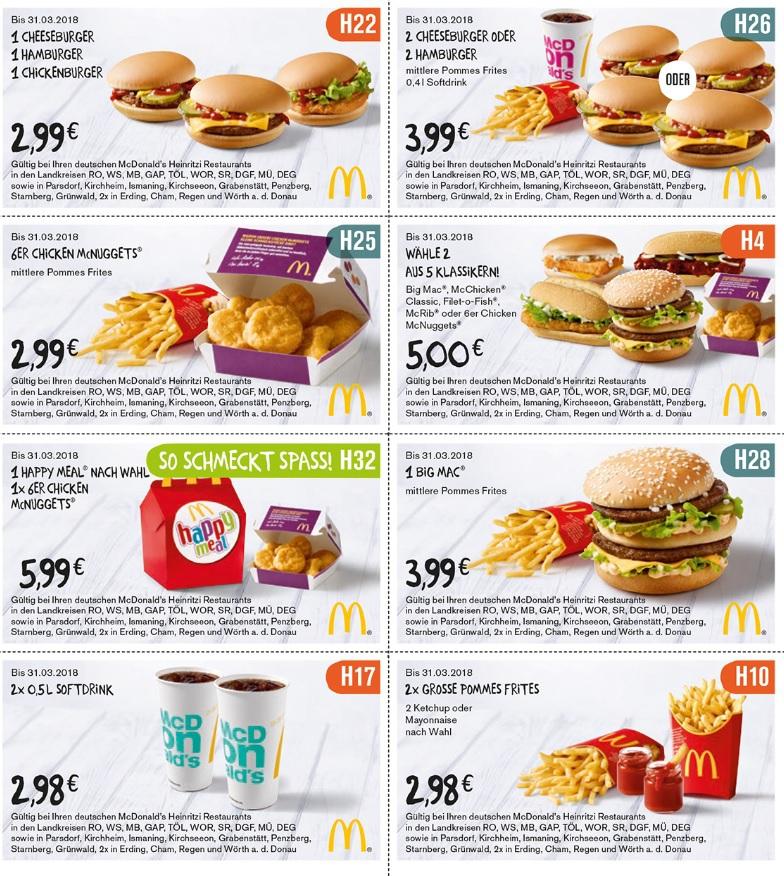 [McDonalds Heinritzi] Neue Coupons mit sehr langer Gültigkeit (überwiegend für Oberbayern)