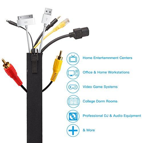 Amazon Kabelschlauch/ Kabelkanal/ Kabel Sleeve aus Neopren mit Reißverschluss 4er Packung