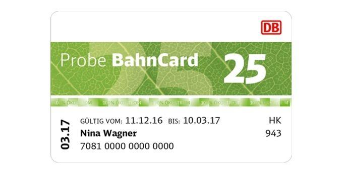 3 MonateProbeBahnCard 2519€ 2. Klasse| 39€ 1. Klasse -BahnCard 5079€bzw.159€.
